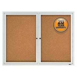 "Quartet® Enclosed Outdoor 2-Door Bulletin Board, 36"" x 48"", Aluminum Frame With Silver Finish"