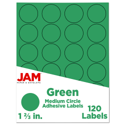 """JAM Paper® Circle Label Sticker Seals, 1 2/3"""", Green, Pack Of 120"""