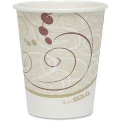 Solo Cup Poly Lined Hot Paper Cups - 10 fl oz - 50 / Pack - Beige - Paper, Polyethylene - Hot Drink, Coffee, Tea, Cocoa