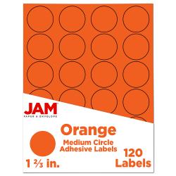 "JAM Paper® Circle Label Sticker Seals, 1 2/3"", Orange, Pack Of 120"