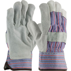 PIP Leather Palm Work Gloves, X-Large, Gray/Blue/Red