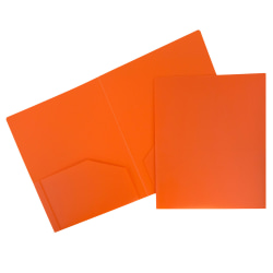 "JAM Paper® Plastic 2-Pocket School POP Folders, 9 1/2"" x 11 1/2"", Orange, Pack Of 6"