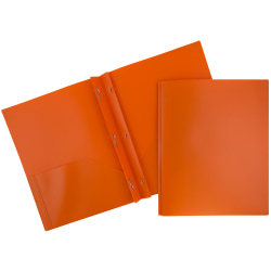 "JAM Paper® Plastic 2-Pocket POP Folders with Metal Prongs Fastener Clasps, 9 1/2"" x 11 1/2"", Orange, Pack Of 6"