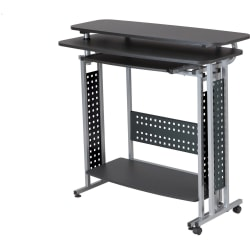"Safco Scoot Standing Height Desk - Box 1 of 2 - Laminated Rectangle, Black Top - 47.25"" Table Top Width x 20"" Table Top Depth - 43.25"" Height - Assembly Required"