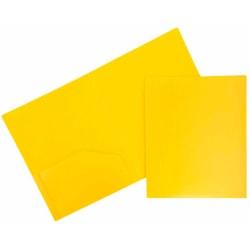 "JAM Paper® Heavy Duty Plastic Two Pocket Presentation Folders, 9 1/2"" x 11 1/2"", Yellow, Pack Of 6"