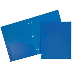 "JAM Paper® 3-Hole-Punched 2-Pocket Plastic Presentation Folders, 9"" x 12"", Blue, Pack Of 6"