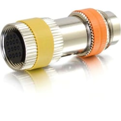 C2G RapidRun Multi-Format (Orange) Runner to PC (Yellow) 15-pin Din Adapter - 1 x DIN Male Audio/Video - 1 x DIN Female Audio/Video - Stainless Steel