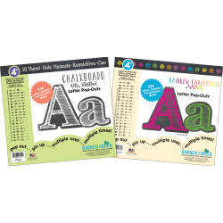 Barker Creek Letter Pop-Outs Sets, White Chalk/Rainbow Chalk, Pack Of 2