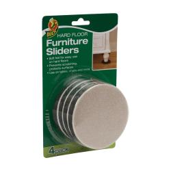 "Duck® Felt Hard Floor Furniture Sliders, 3 1/2"", Brown, Set Of 4"