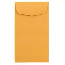 "JAM Paper® Open-End Coin Envelopes, #6, 3 3/8"" x 6"", Brown Kraft, Pack Of 25"