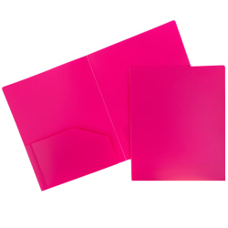 "JAM Paper® Heavy-Duty 2-Pocket Plastic Presentation Folders, 9"" x 12"", Fuchsia Pink, Pack Of 6"