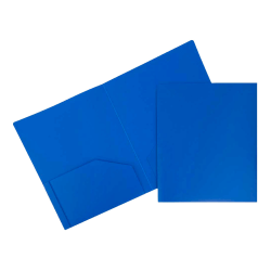 "JAM Paper® Heavy-Duty 2-Pocket Plastic Presentation Folders, 9"" x 12"", Blue, Pack Of 6"