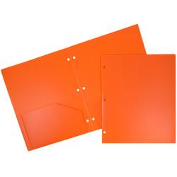 "JAM Paper® Heavy-Duty 3-Hole-Punched 2-Pocket Plastic Presentation Folders, 9"" x 12"", Orange, Pack Of 6"