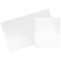 "JAM Paper® 3-Hole-Punched 2-Pocket Plastic Presentation Folders, 9"" x 12"", Clear, Pack Of 6"