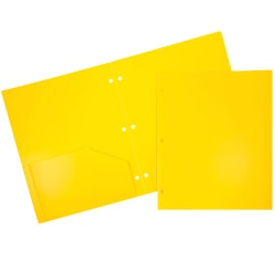 """JAM Paper® 3-Hole-Punched 2-Pocket Presentation Folders, 9"""" x 12"""", Yellow, Pack Of 6"""