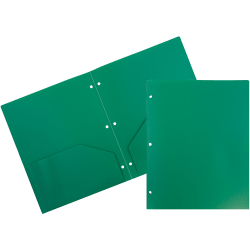 "JAM Paper® 3-Hole-Punched 2-Pocket Plastic Presentation Folders, 9"" x 12"", Green, Pack Of 6"