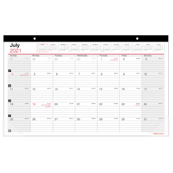 """Office Depot® Brand Monthly Academic Desk Calendar, 17-3/4"""" x 10-7/8"""", 30% Recycled, July 2021 to June 2022, ODUS2033-001"""