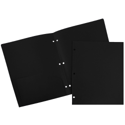 "JAM Paper® 3-Hole-Punched 2-Pocket Plastic Presentation Folders, 9"" x 12"", Black, Pack Of 6"