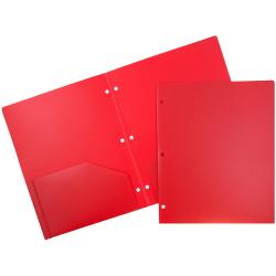 "JAM Paper® 3-Hole-Punched 2-Pocket Plastic Presentation Folders, 9"" x 12"", Red, Pack Of 6"