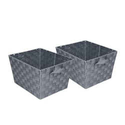"Honey-Can-Do Task-It Woven Baskets, 12""L x 10""W x 8""H, Silver, Pack Of 2"