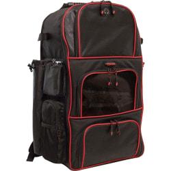 "Mobile Edge Deluxe Carrying Case (Backpack) Baseball, Softball - Black, Red - Ballistic Nylon, Twin Matt - Shoulder Strap, Handle - 24"" Height x 17"" Width x 10"" Depth"