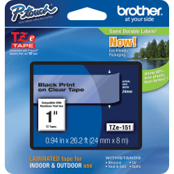 "Brother® TZe-151 Black-On-Clear Tape, 1"" x 26'"
