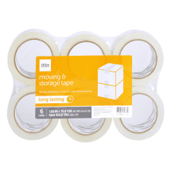 "Office Depot® Brand Moving And Storage Tape Rolls, 1.89"" x 70.8 Yd, Clear, Pack Of 6 Rolls"