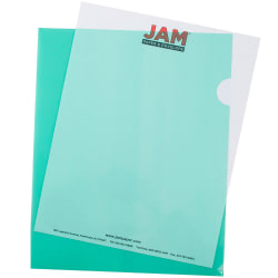 "JAM Paper® Plastic Sleeves, 9"" x 11 1/2"", 1"" Capacity, Green, Pack Of 12"