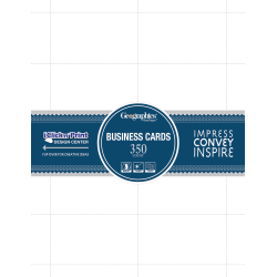 "Geographics Inkjet, Laser Print Business Card - 3 1/2"" x 2"" - 65 lb Basis Weight - Recycled - 30% Recycled Content - 350 / Pack - White"