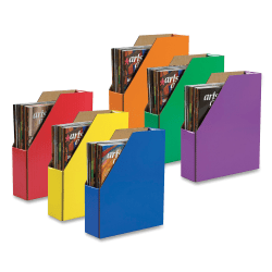 Pacon® 70% Recycled Corrugated Magazine Holders, Assorted Colors (No Color Choice), Pack Of 6