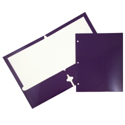 JAM Paper® Glossy 3-Hole-Punched 2-Pocket Presentation Folders, Purple, Pack of 6