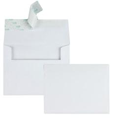 "Quality Park® Redi-Strip® Invitation And Greeting Card Envelopes, 4 3/8"" x 5 3/4"", White, Box Of 100"
