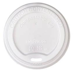 Highmark® Compostable Hot Coffee Cup Lids, White, Pack Of 50