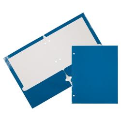 JAM Paper® Glossy 3-Hole-Punched 2-Pocket Presentation Folders, Blue, Pack of 6
