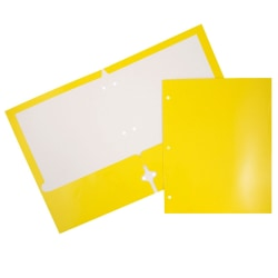 JAM Paper® Glossy 3-Hole-Punched 2-Pocket Presentation Folders, Yellow, Pack of 6
