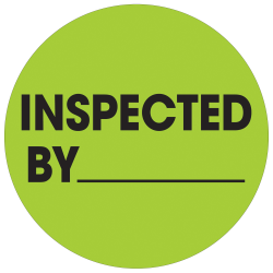 """Tape Logic® Preprinted Special Handling Labels, DL1265, Inspected By, Round, 1"""", Fluorescent Green, Roll Of 500"""