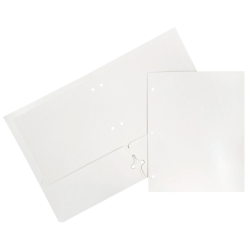 JAM Paper® Glossy 3-Hole-Punched 2-Pocket Presentation Folders, White, Pack of 6
