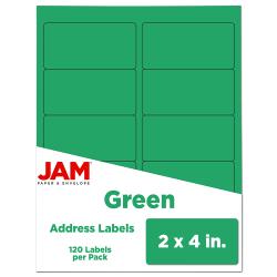 "JAM Paper® Rectangular Mailing Address Labels, 302725774, 2"" x 4"", Green, Pack Of 120"