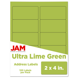 """JAM Paper® Rectangular Mailing Address Labels, 302724405, 2"""" x 4"""", Lime Green, Pack Of 120"""