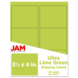 """JAM Paper® Mailing Address Labels, 3 1/3"""" x 4"""", Lime Green, Pack Of 120"""