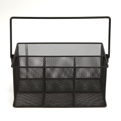 "Mind Reader 4-Compartment Mesh Organizer Basket With Handle, 4 1/2""H x 9 1/2""W x 6 3/8""D, Black"