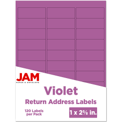 "JAM Paper® Mailing Address Labels, 302725788, 2 5/8"" x 1"", Purple, Pack Of 120"