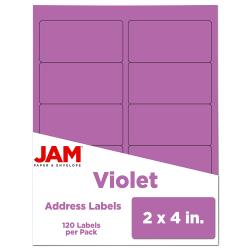 "JAM Paper® Rectangular Mailing Address Labels, 302725790, 2"" x 4"", Violet Purple, Pack Of 120"
