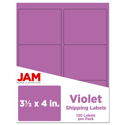 "JAM Paper® Mailing Address Labels, 3 1/3"" x 4"", Purple, Pack Of 120"