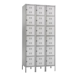 "Safco® Six-Tier Two-Tone 3-Column Locker With Legs, 78""H x 36""W x 18""D, Gray"