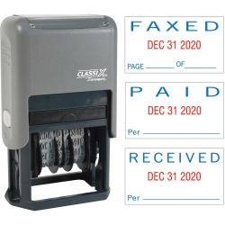 """Xstamper Self-Inking Paid/Faxed/Received Dater - Message/Date Stamp - """"PAID, FAXED, RECEIVED"""" - 0.93"""" Impression Width x 1.75"""" Impression Length - Blue, Red - Plastic - 1 Each"""