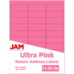 "JAM Paper® Mailing Address Labels, 302725795, 2 5/8"" x 1"", Pink, Pack Of 120"