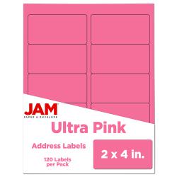 "JAM Paper® Rectangular Mailing Address Labels, 302725797, 2"" x 4"", Pink, Pack Of 120"