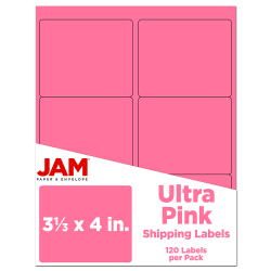 """JAM Paper® Mailing Address Labels, 3 1/3"""" x 4"""", Pink, Pack Of 120"""