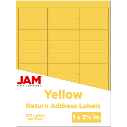 "JAM Paper® Mailing Address Labels, 302725801, 2 5/8"" x 1"", Yellow, Pack Of 120"